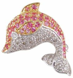 18KT/KW Pink Sapphire & Diamond Porpoise Broach The Judy Mayfield Collection. $939.99. Save 78% Off!