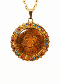 Bronzed Cancer Zodiac Pendant Necklace