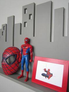 Cityscape Wall Shelf Large Gray Superhero Decor by LandingsByNikki