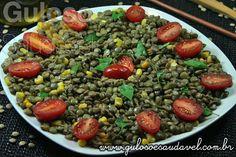 Esta Salada de Lentilha com Manjericão é super fácil mas muito saborosa e nutritiva. Que tal fazer para #almoço? Vão amar!  #Receita no link: http://www.gulosoesaudavel.com.br/2012/07/23/salada-lentilha-manjericao/
