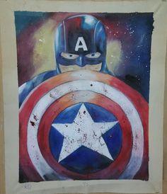 """Captain America - Captain America Art - Avengers - Comic Art - Watercolor Painting - Watercolor Pencil - Acrylic Splatter - 16""""x20"""" Primed Premium Cotton Canvas"""