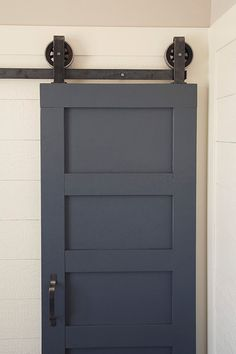 Gorgeous Barn door separating the bath [ Specialtydoors.com ] #bath #hardware #slidingdoor