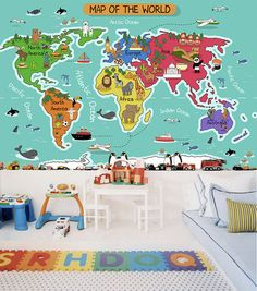 This Childrens World Map Pattern wallpaper is Specially Designed and Custom Made to fit almost Any Size of Your Walls! As a great revolution of traditional repetitive patterns, it makes your room as Artistic as with a Fabulous Mural!  ------------ Material ------------ All our artwork is printed on High Quality Germany Non-woven Paper with Laser Digital Printing Technology and Belgium Food-Safe Toners. ----------------- Advantages ----------------- 1. Moisture-proof & Mildew-proof Material…