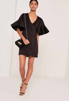 Missguided - Frill Sleeve Scuba Dress Black