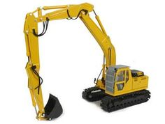 This New Holland E215B Long Boom Excavator Diecast Model Excavator is Yellow and features working boom, bucket, rotating cab, tracks. It is made by Motorart and is 1:50 scale (approx. 20cm / 7.9in long).  ...