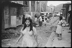 Street in the slum area of the hill town of Lares, Puerto Rico - 1950's.