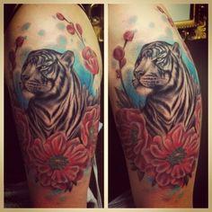 Tiger tattoo.  By Mina at Hawk and Sparrows Tattoo, Malmoe Sweden. Sooooo pretyy