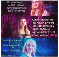 Harry Potter Girl Power!  The book versions of Ginny and Luna. Both versions of Hermione!