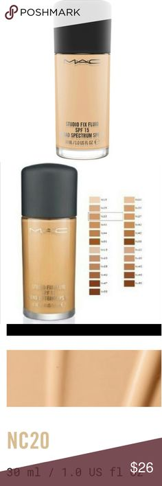 New MAC Studio Fix Foundation in color NC20 Brand New MAC Studio Fix Fluid Foundation in color NC20. All reasonable offers are considered and appreciated no trades MAC Cosmetics Makeup Foundation