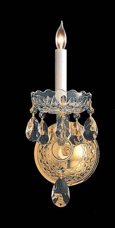Crystorama 1101-PB-CL-MWP 1-Lights Hand Cut Crystal Wall Sconce - Polished Brass