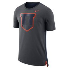 Men's Nike Illinois Fighting Illini Dri-FIT Mesh Back Travel Tee, Size: Medium, Grey (Anthracite)
