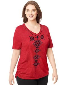 Share us with your friends! Just My Size Short-Sleeve V-Neck Women's Graphic Tee with Shirred Sides — Native Justice Print