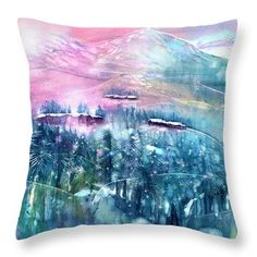Fairy Forest with Swiss Stone Pines Throw Pillow by Sabina Von Arx Watercolor Paintings, Original Paintings, Forest Fairy, Creative Colour, Pillow Sale, Season Colors, Beautiful Artwork, Painting Techniques, Color Show