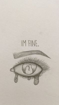 I'm fine 😢 - New Ideas - kunst skizzen - Sad Drawings, Dark Art Drawings, Art Drawings Sketches Simple, Pencil Art Drawings, Art Drawings Beautiful, Sketches Of Women, Cute Love Drawings, Drawing With Pencil, Pencil Sketching