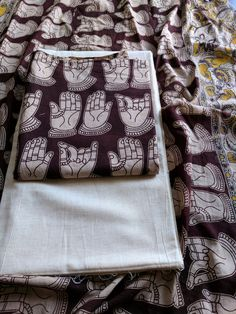 Buy Cotton Suit with Kalamkari Block Print - Brown