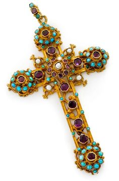 An antique gem-set cross pendant, circa 1880 The silver gilt openwork cross of Byzantine inspiration, decorated by foil-backed garnet, turquoise and grey pearl collets, to the engraved reverse, on a later rolled gold fine-link neckchain, pearls untested for natural origin, length 8.3cm, weighing 22.1 grams