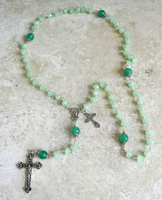 Genuine Jade Opaque Austrian Crystal Antique Silver Holy Mother Rosary