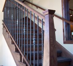 Wood Railing with Wrought Iron Balusters - Traditional - Staircase ...