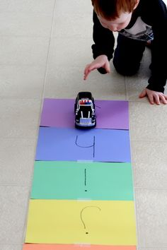 Learning Letter Sounds on Alphabet Road. A fun, hands-on literacy learning activity.