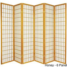 ORIENTAL FURNITURE Wood and Rice Windowpane Shoji Screen