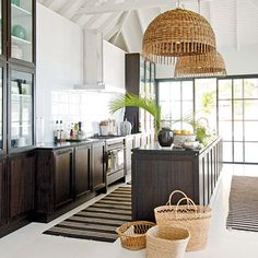 Great room pics on this site.  Here we have a Modern Kitchen With Hanging Basket Lights