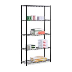 Honey-Can-Do Industrial Adjustable Storage Shelving Unit with 2 Black Garage Organizers Shelving Units NULL furniture shelves furniture couch furniture for kids furniture patio