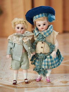 Two German All-Bisque Miniature Dolls  1100/1500