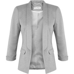 Miss Selfridge Ponte Jacket, Grey (79 CAD) ❤ liked on Polyvore featuring outerwear, jackets, blazers, tops, gray blazer, short jacket, ponte blazer, grey blazer and miss selfridge
