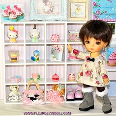 Large wooden shelf white for Lati Yellow Pukifee and Dollhouse dollhouse 1:12 on Etsy, $25.00 CAD