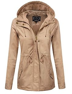 Women's Casual Jackets - ZENNESSA Womens Zip Up Military Anorak Drawstring Jacket wPockets ** You can get more details by clicking on the image.
