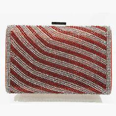 Tigerstars l $32.00 New Silver Red Rhinestone Hardframe Evening Case Purse Clutch Handbag