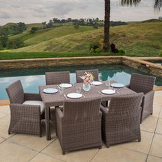 Brenton Outdoor 7pc Brown Wicker Sunbrella Dining Set