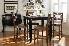 Bassett's pub height table & chairs. Customize it! Choose your finishes, Choose your Table Leg, Choose fabric, leather or wood seats!