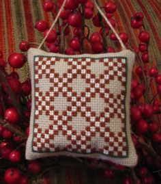 Completed/Finished Prairie Schooler Holiday Homestead Double Irish Chain Quilt Cross Stitch Christmas Ornament