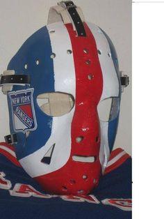 Goalie Mask - John Davidson NHL New York Rangers – Vintage Sports Items Rangers Hockey, Hockey Girls, Hockey Mom, Ice Hockey, Quotes New York, New York Rangers Logo, Bernie Parent, Ranger Sport