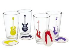 GUITAR GLASSES AND COASTERS   rock glass, music, drink coasters  