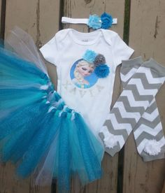 Elsa Frozen Tutu Outfit - Disney Inspired - Personalized Frozen Birthday Outfit - Girls Elsa Outfit by craftingballerinamom on Etsy