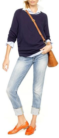 Chambray & Denim // JCrew. And orange leather flats?? Yes, please!!