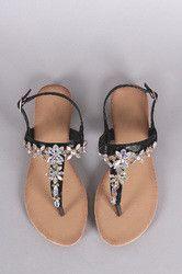 Cluster Jeweled T-Strap Slingback Thong Flat Sandal