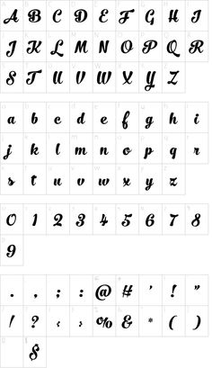 No. Seven Bold font character map