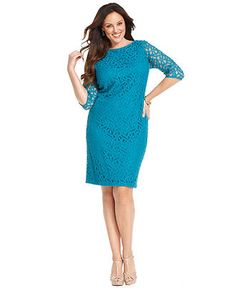 MOB: Jones New York Plus Size Dress, Three-Quarter-Sleeve Floral Lace Sheath - Plus Size Dresses - Plus Sizes - Macy's