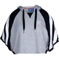 f0be5ee0b28 Adidas Originals Sweatshirt (£42) ❤ liked on Polyvore featuring tops,  hoodies, sweatshirts, light grey, multi color tops, short sleeve  sweatshirts, ...