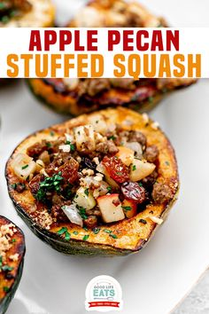 This Apple Stuffed Acorn Squash is a great healthy side dish to accompany your Thanksgiving meal. Learn how to make stuffed squash, how to make stuffed squash ahead of time, and many other tips for this recipe! This Apple Stuffed Acorn Squash is a great recipe for your Thanksgiving meal! | Good Life Eats @goodlifeeats #acornsquash #thanksgivingsidedishes #easyfallsidedishes #acornsquashrecipes #thanksgivingdinner #christmassidedishes #wintersidedishes #goodlifeeats