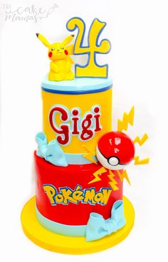 Pokémon inspired birthday cake for a special little girl who loves Pikachu! Call or email to book your Pokemon cake today! #pokemon #cake #birthday #birthdaycakes #girlbirthdays #birthdayparties