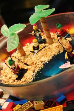 """Jello """"cake"""" :)   awesome...love the legos as decorations...reminds me of the bday cakes mom made when we were little..."""