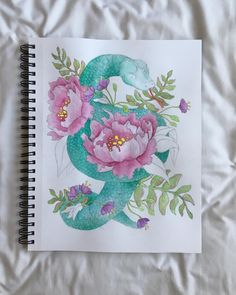 """20 Likes, 3 Comments - Jordan Joseph (@jordanjosephart) on Instagram: """"Today's project; nearly complete! 🐍 #watercolor #floral #peony #flowers #snake #graphite #artist…"""""""