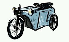 Electricar Couaillet Sketches, Motorcycle, Vehicles, Drawings, Motorcycles, Car, Doodles, Sketch, Motorbikes