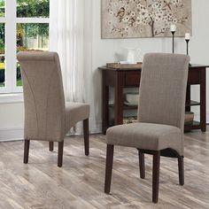Simpli Home 2-piece Avalon Linen Deluxe Parson Chair Set,