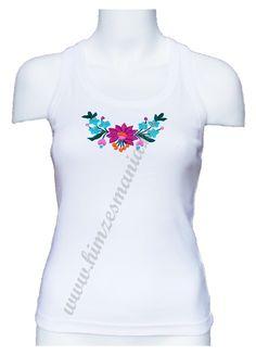 Tanktop - hungarian folk embroidery - white