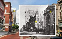 The buildings at the intersection of Third and Main streets in Downtown Evansville, now and then.